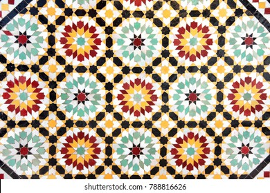 Detail of traditional moroccan mosaic wall, Morocco, Africa