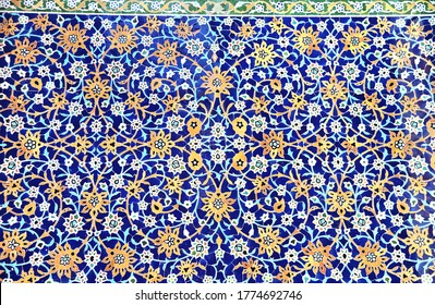 Detail of traditional persian mosaic wall with floral ornament in Shrine Ensemble, mausoleum and khaneghah of Sheikh Safi al-din, Ardabil, Iran. UNESCO world heritage site