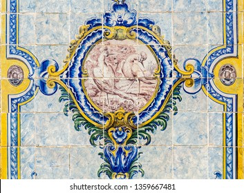 Detail of the traditional polychromatic decorative tiles with birds on the central medallion on both sides of the Chafariz da Cordoaria in Lisbon, Portugal