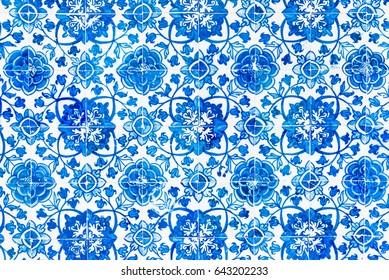 Detail of the traditional tiles (azulejos) from the Convent of Christ in Tomar, Portugal