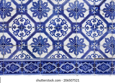 Detail of the traditional tiles (azulejos) from facade of old house in Lisbon, Portugal