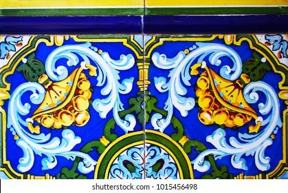 Detail of the traditional tiles from facade of old house. Decorative tiles.