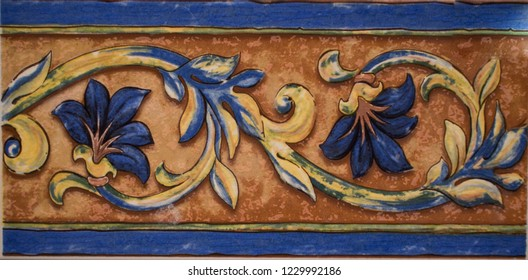 Detail of the traditional tiles from facade of old house. Decorative tiles.Valencian traditional tiles. Floral ornament. - Shutterstock ID 1229992186