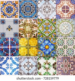 Detail of the traditional tiles from facade of old house. Decorative tiles traditional tiles. Floral ornament.