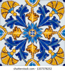 Detail of the traditional tiles from Mdina, Malta