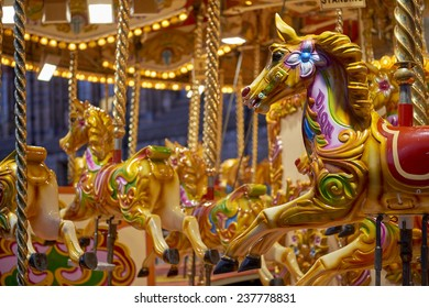 Detail of traditional Victorian carousel in the courtyard of the Natural History Museum. December 11, 2014 in London.