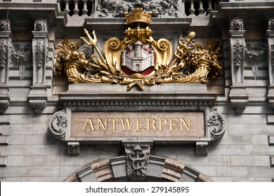 Detail train station in Antwerp,