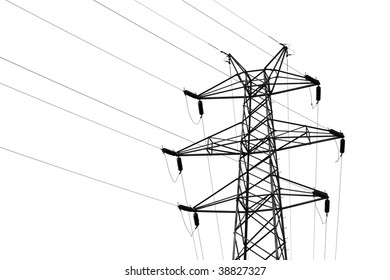 detail of transmission tower with high voltage wires