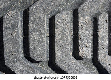 detail of tread on heavy construction vehicle tire