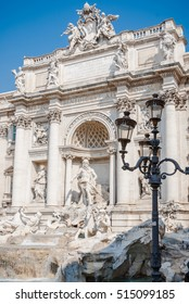 Detail of the Trevi Fountain, which is a fountain in the Trevi district in Rome, Italy. Standing 26.3 metres high and 49.15 metres wide, and one of the most famous fountains in the world