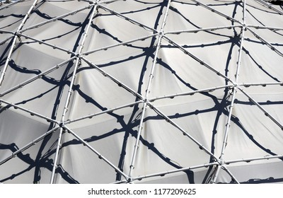 Detail of triangular pattern of geodesic dome