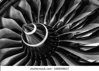 Detail of turbine of super modern airplane