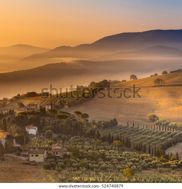 Detail of Tuscan village in Tuscany Landscape near Florence on a Foggy Morning, Italy
