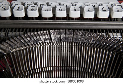 detail of typewriter with Cyrillic letters