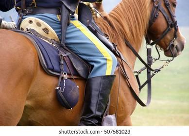 Detail, Union cavalry sergeant on his horse,  Civil War Battle Re-enactment,  Port Gamble, WA