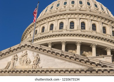 Detail of the United States Capitol building in Washington D.C., the meeting place for Congress, and the seat of the legislative branch of the federal government.