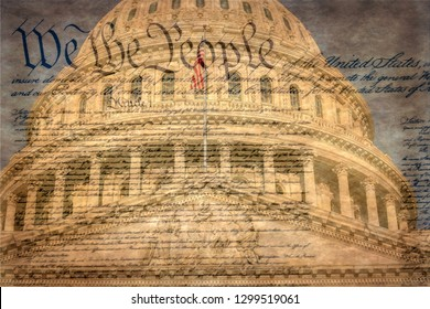 Detail of the United States Capitol building in Washington D.C., the meeting place for Congress and the seat of the legislative branch of the federal government. Famous declaration.