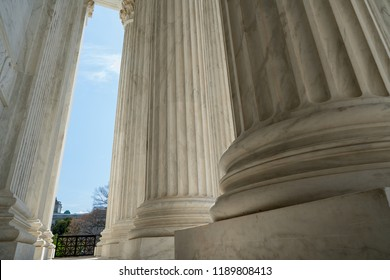 Detail of United States Supreme Court building located in Washington, D.C., USA.