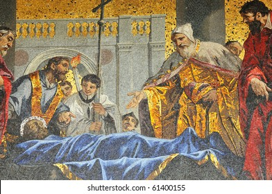 Detail of the veneration of st Mark by Doge and merchants when his body arrives in Venice. Depicted in golden mosaics