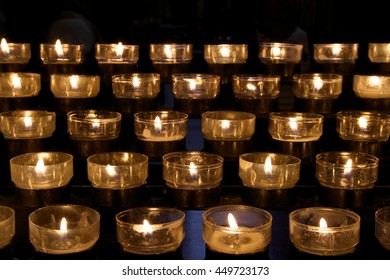 Detail of victims candles in a church