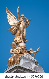 Detail of Victoria Memorial in London: Victory