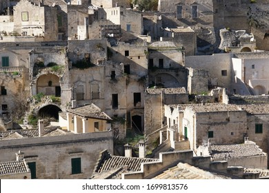 Detail view with abandoned buildings from the Sassi di Matera a historic district in the city of Matera