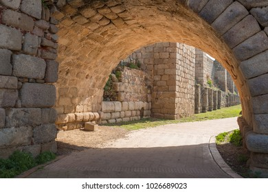 Detail view of the arches of the Roman bridge of the city of Merida, ancient Emerita Augusta in Roman times