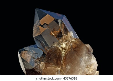 Detail view of a brown crystal found in the swiss alps