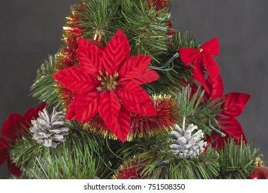Detail view of Christmas tree decorations