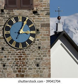 Detail view of a clock on a church tower in high resolution