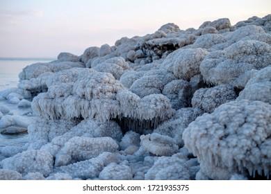 Detail view of Death Sea salt crystals