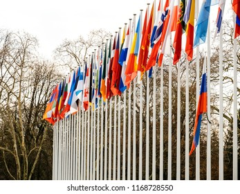 Detail view of flag of Russia flying half-mast at Council of Europe as a tribute and mourning of victims of fire at Zimnyaya Vishnya Winter Cherry shopping centre Kemerovo.
