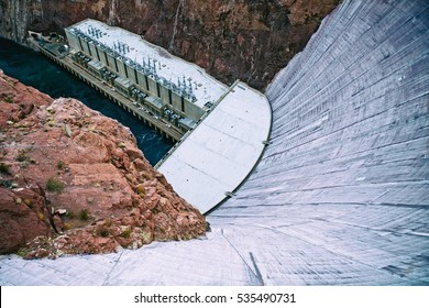 Detail view of the Hoover dam - the bottom side. Rocks and concrete. Energy issue. Monumental building.