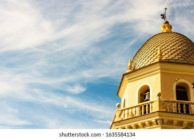 Detail view of old church roof top in Portofino village in Cinque Terre, Italy