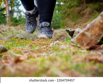 Detail view on young female's feet while walking through the forest