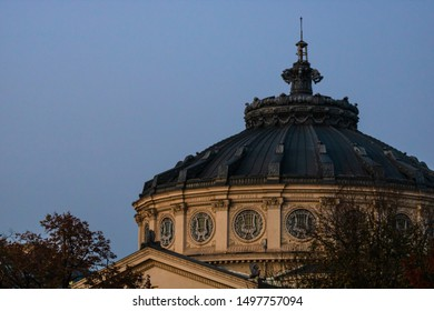 Detail view over the Romanian Athenaeum or Ateneul Roman, in the center of Bucharest