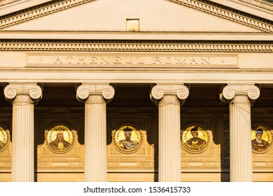 Detail view over the Romanian Athenaeum or Ateneul Roman, in the center of Bucharest, Romania, 2019