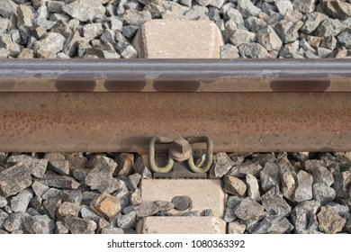 Detail view of a Track and its track fastening on concrete sleeper