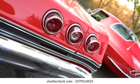Detail view of vintage car features.