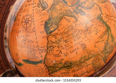 Detail of a vintage globe map showing the Europe and North Africa