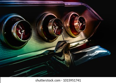 Detail of a vintage muscle car stop tail lights.