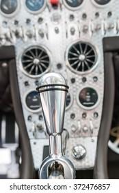 Detail of vintage racing cars cockpit