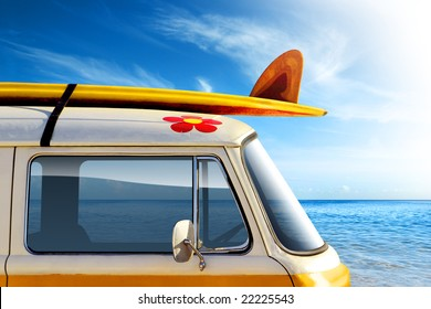 Detail of a vintage van in the beach, with a surfboard on the roof