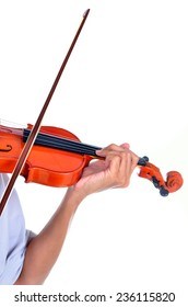 Detail of viola being played by a musician