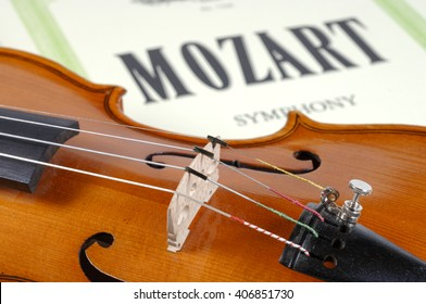 detail of violin as music instrument of orchestra