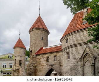 Detail of the Viru Gate and the medieval towers of the Old Town of Tallinn, Estonia