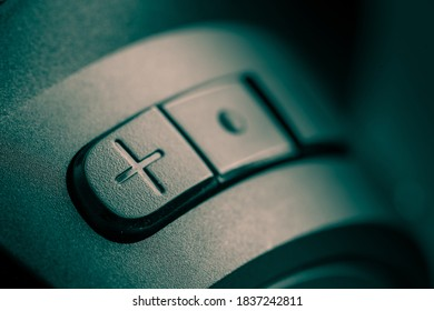 Detail of a volume button on headphones