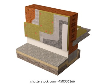 Detail of a wall insulated with rock wool isolated on white background. Three-dimensional image.