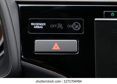 Detail of a warning button in a car