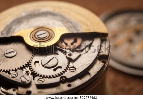 Detail of watch machinery. closeup macro shot
